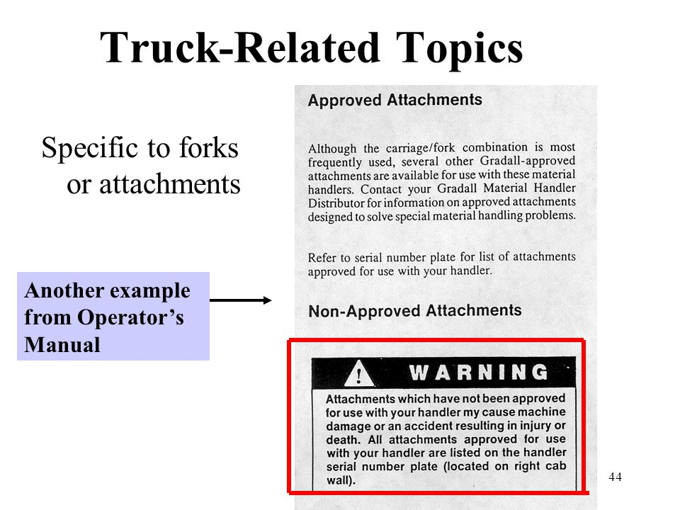 Truck-Related Topics Specific to forks or attachments