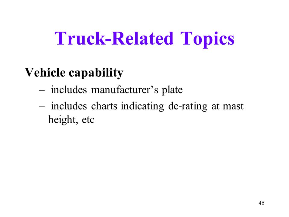 Truck-Related Topics Vehicle capability includes manufacturer's plate