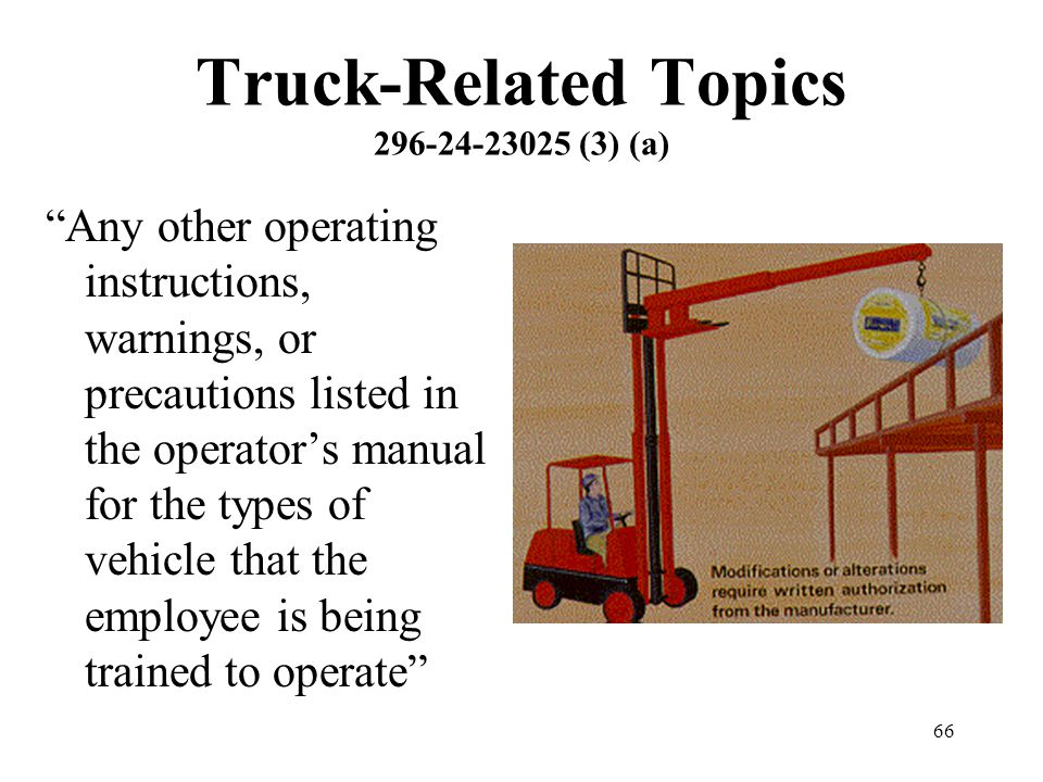 Truck-Related Topics 296-24-23025 (3) (a)