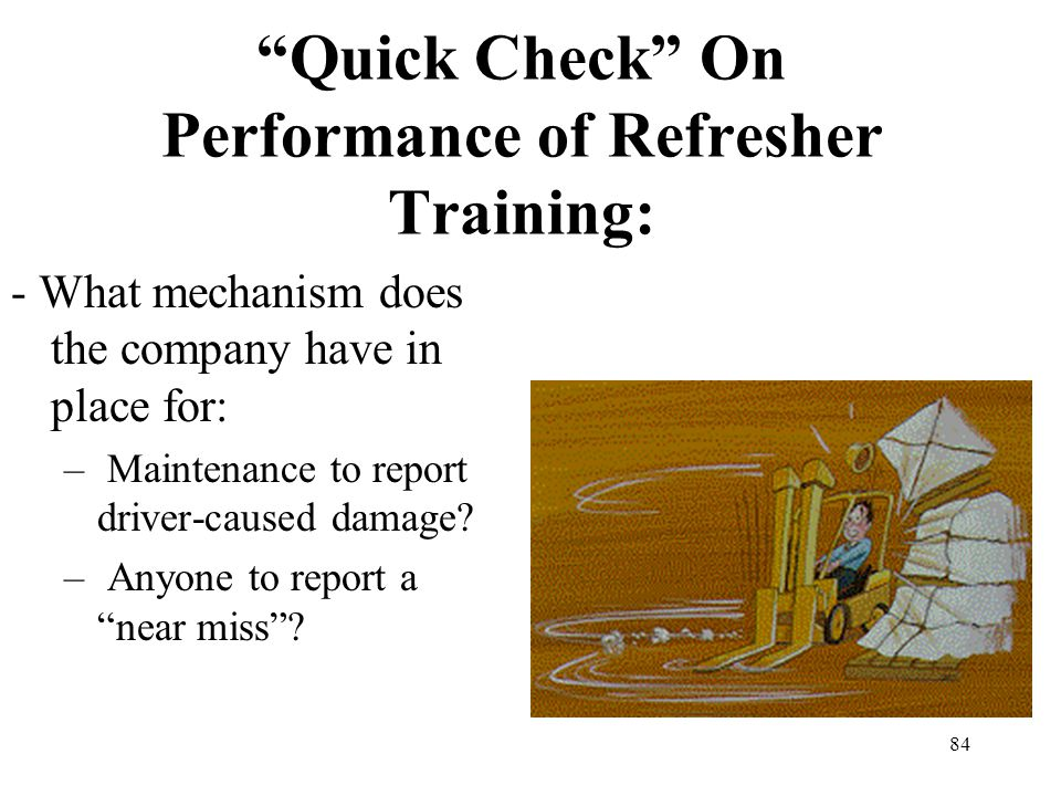 Quick Check On Performance of Refresher Training: