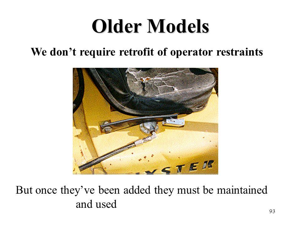 Older Models We don't require retrofit of operator restraints