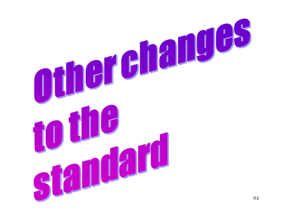 Other changes to the standard