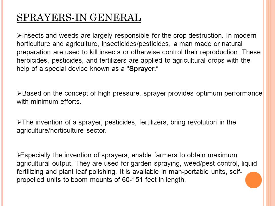 SPRAYERS-IN GENERAL