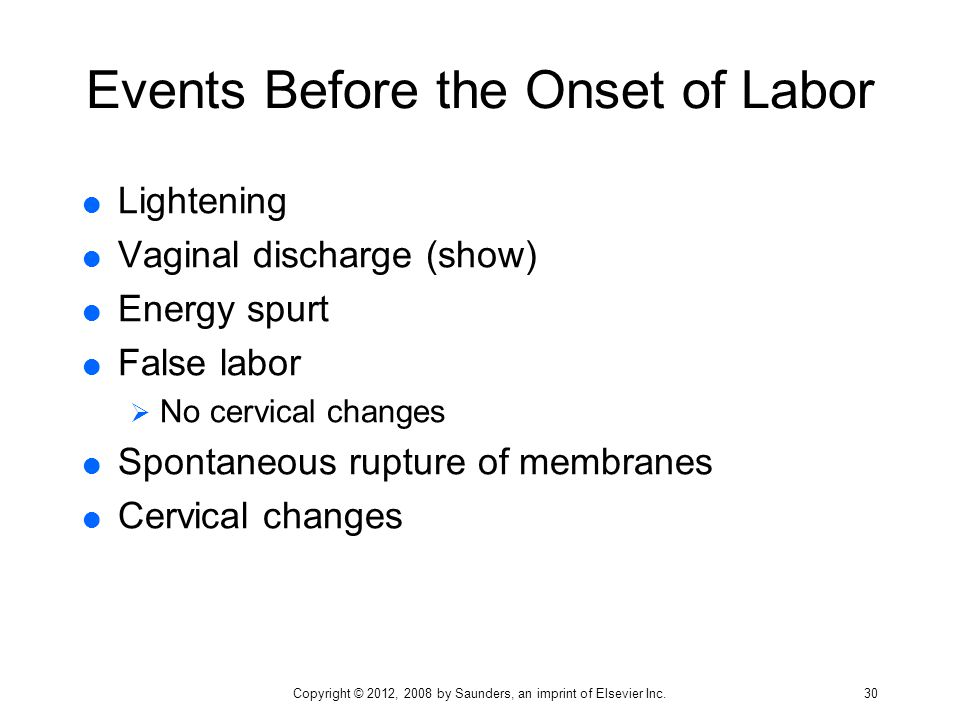 Events Before the Onset of Labor