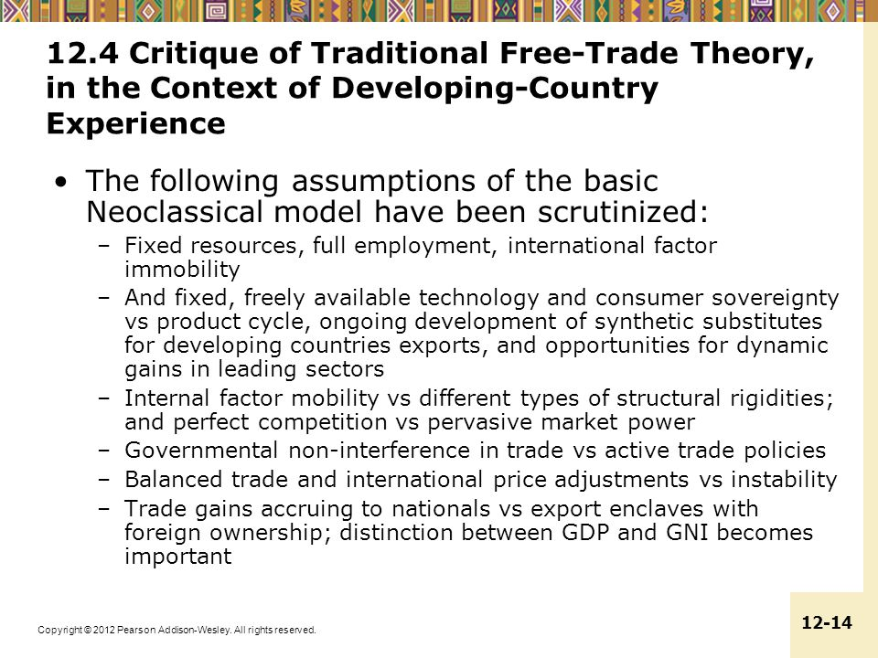 12.4 Critique of Traditional Free-Trade Theory, in the Context of Developing-Country Experience