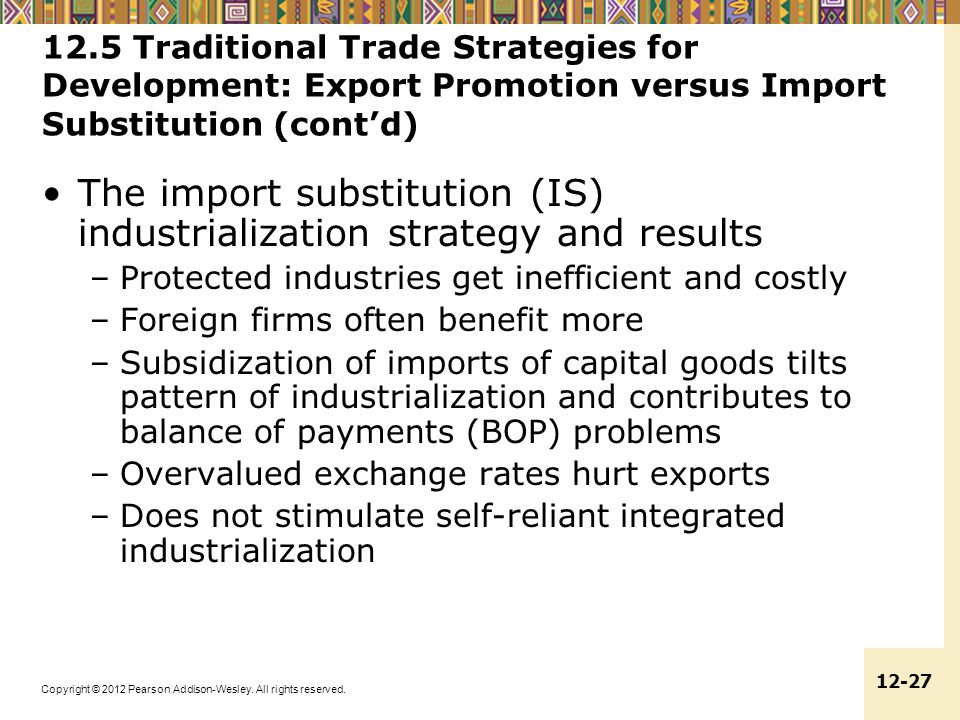 The import substitution (IS) industrialization strategy and results