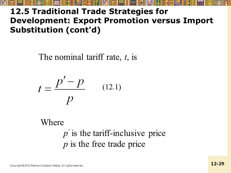 The nominal tariff rate, t, is