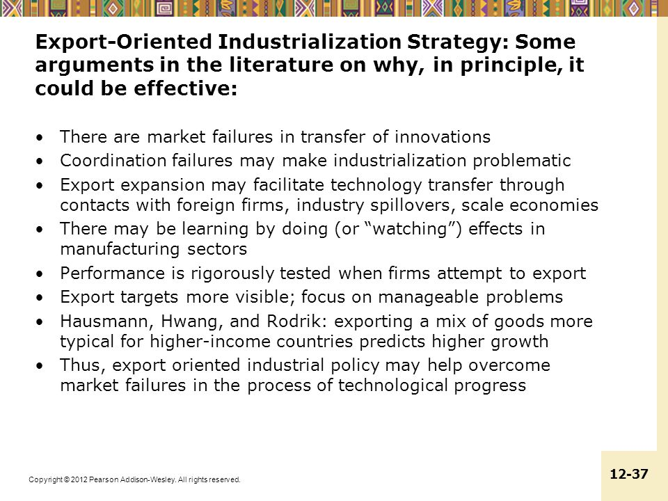 Export-Oriented Industrialization Strategy: Some arguments in the literature on why, in principle, it could be effective: