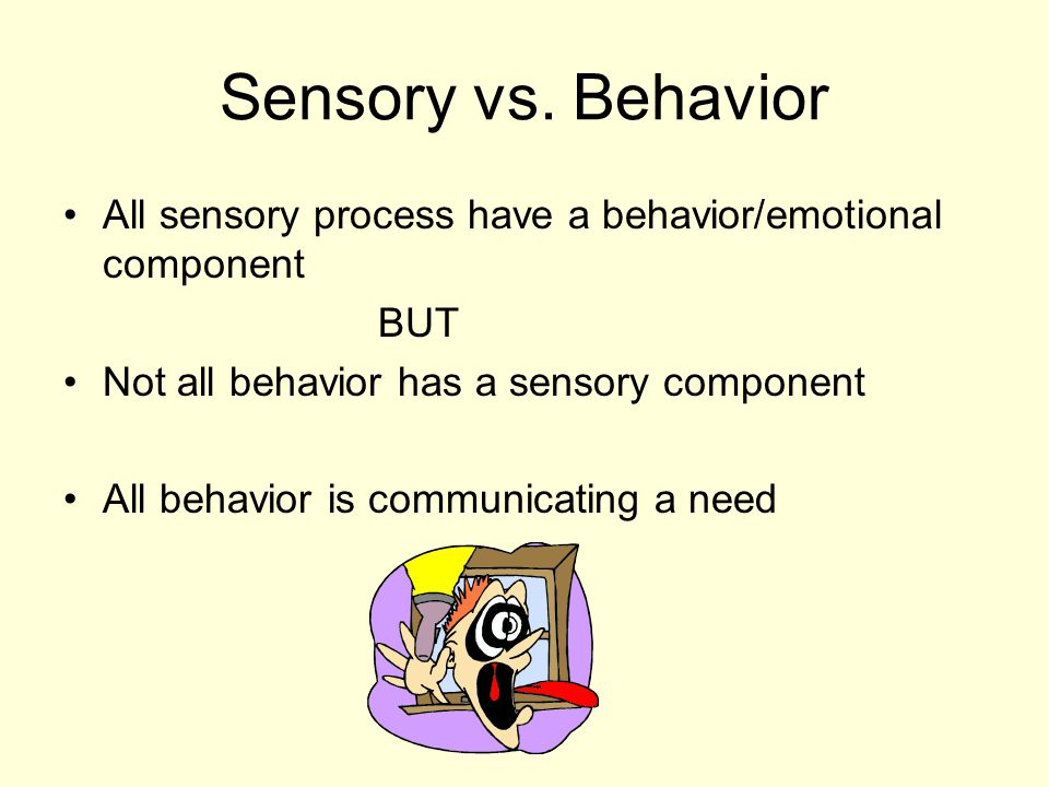 Sensory vs. Behavior All sensory process have a behavior/emotional component. BUT. Not all behavior has a sensory component.
