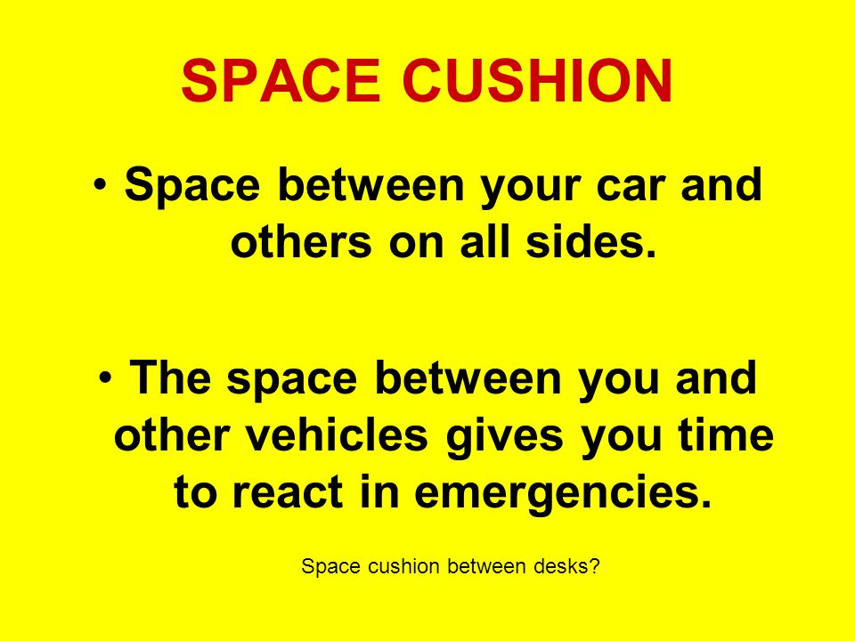 Space between your car and others on all sides.