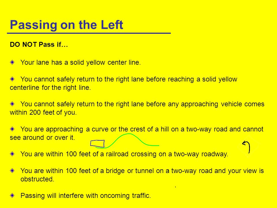Passing on the Left DO NOT Pass if…