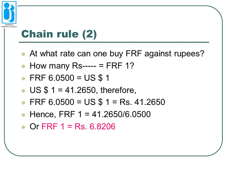 Chain rule (2) At what rate can one buy FRF against rupees