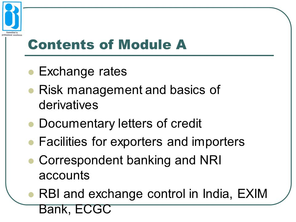 Contents of Module A Exchange rates