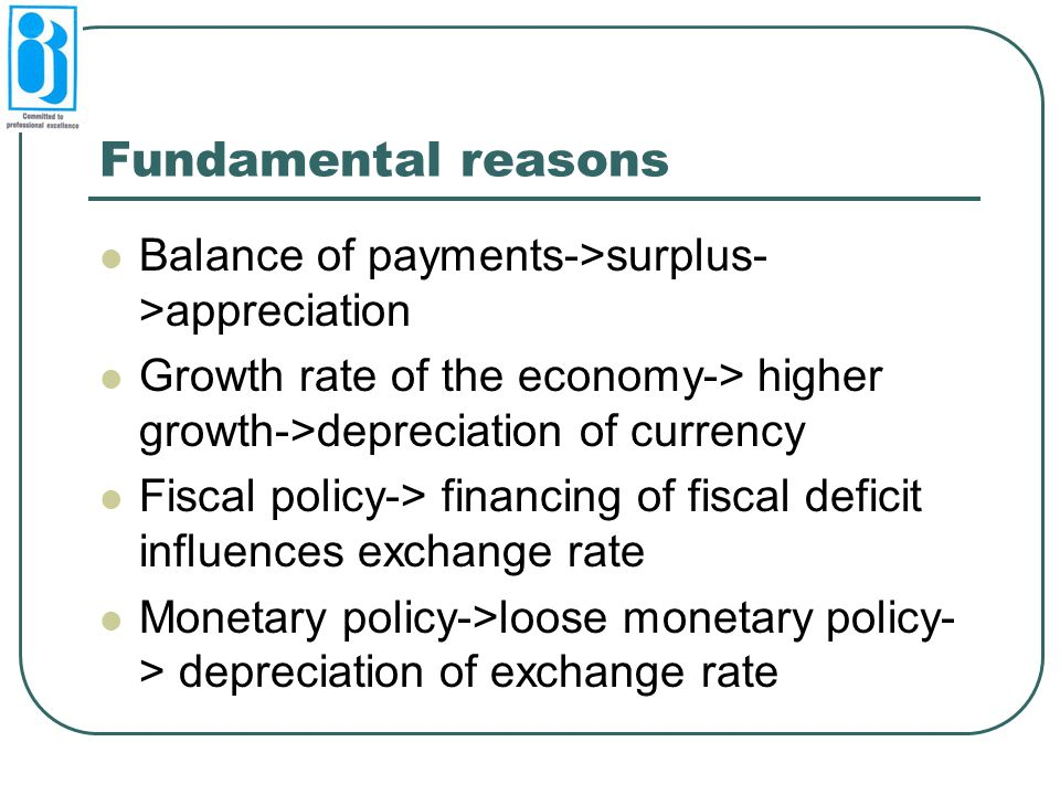 Fundamental reasons Balance of payments->surplus->appreciation