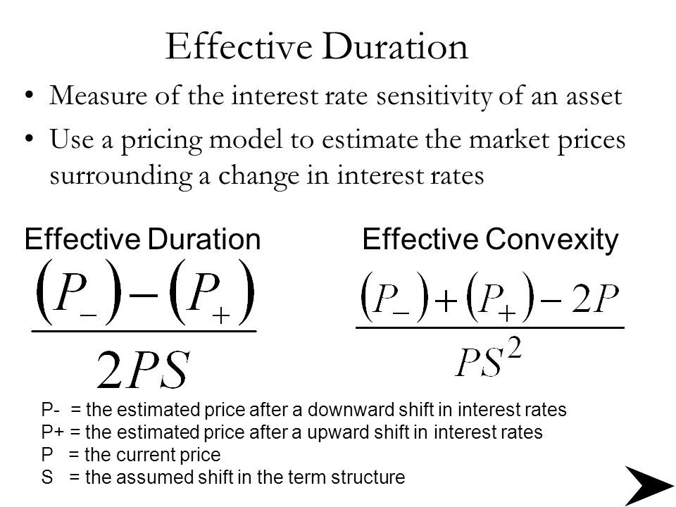 Effective Duration Measure of the interest rate sensitivity of an asset.