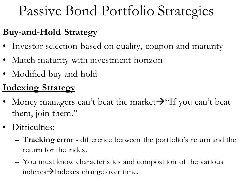 Passive Bond Portfolio Strategies