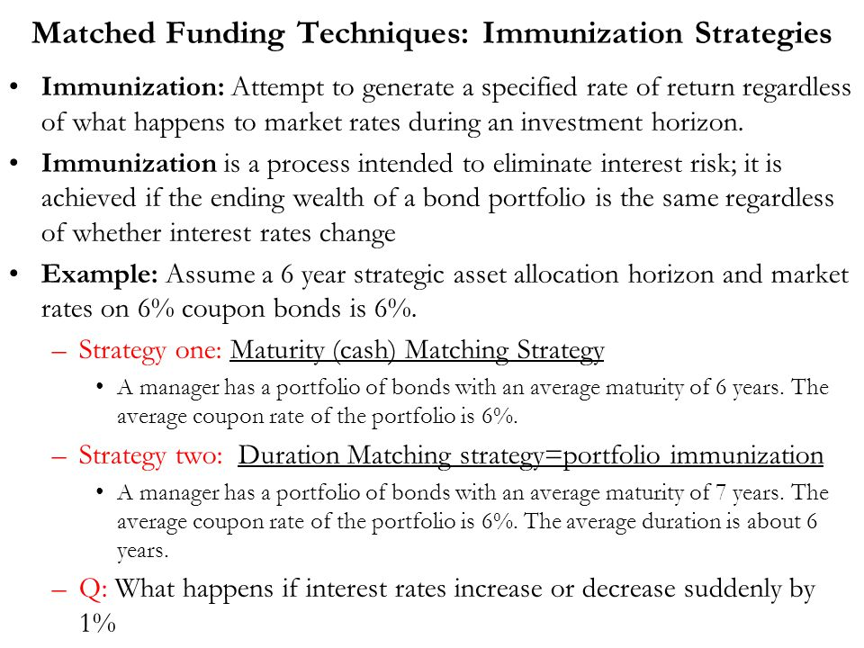 Matched Funding Techniques: Immunization Strategies