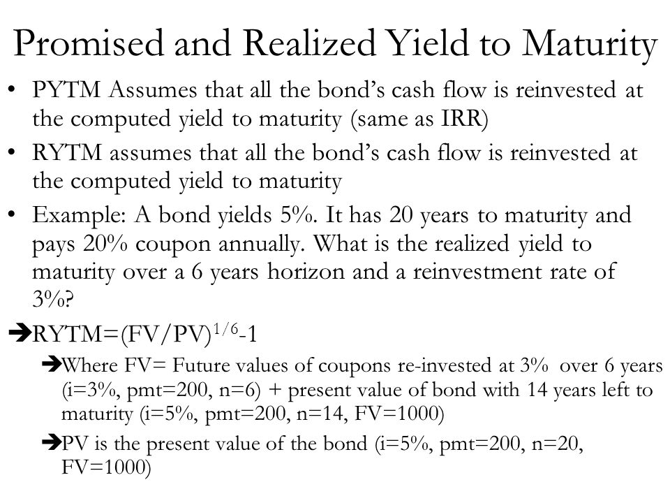 Promised and Realized Yield to Maturity