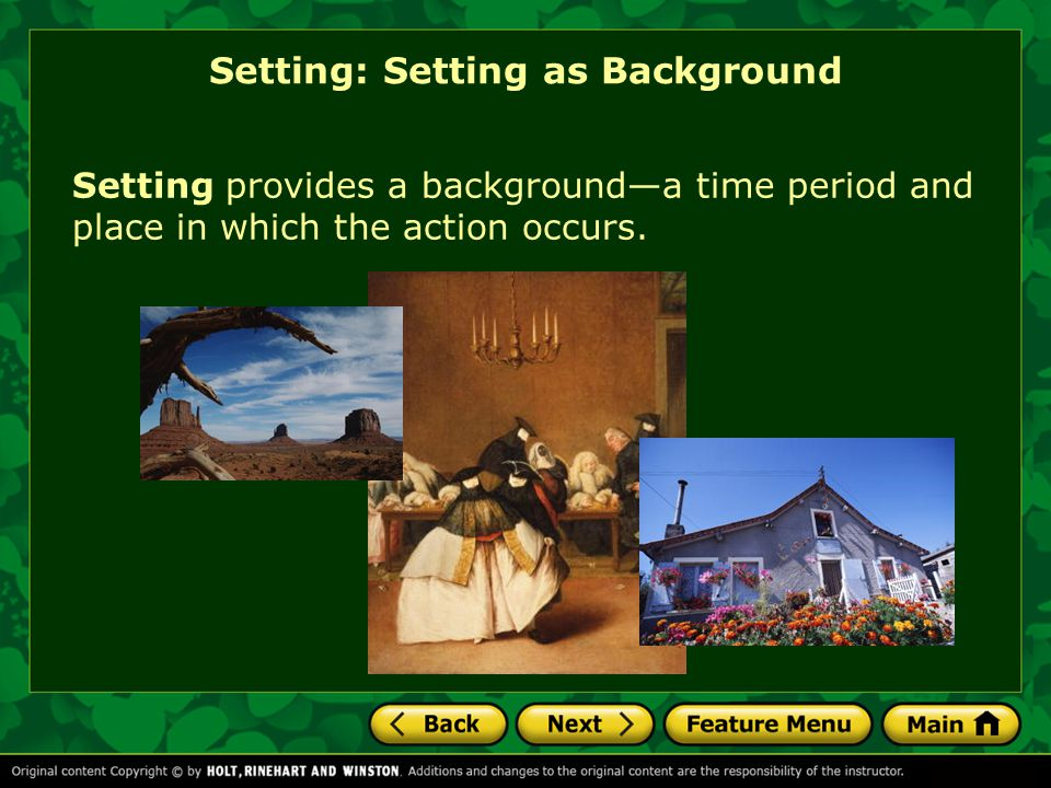 Setting: Setting as Background