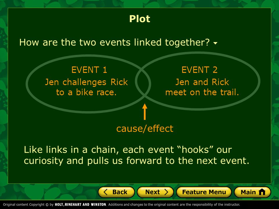 Plot How are the two events linked together cause/effect