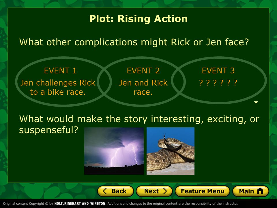 Jen challenges Rick to a bike race.