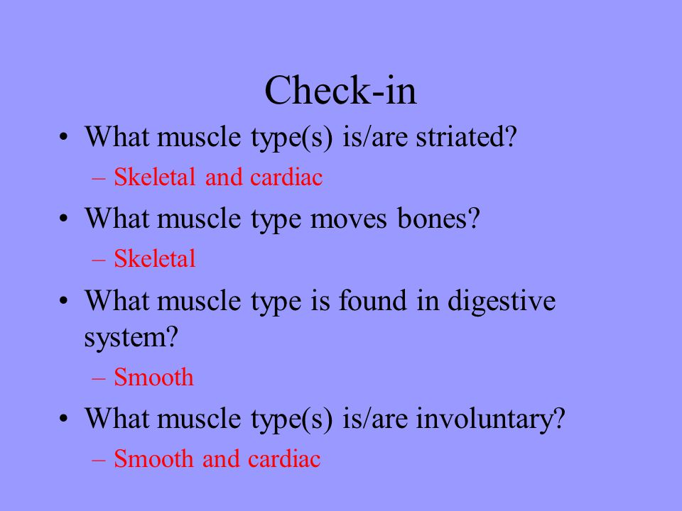 Check-in What muscle type(s) is/are striated