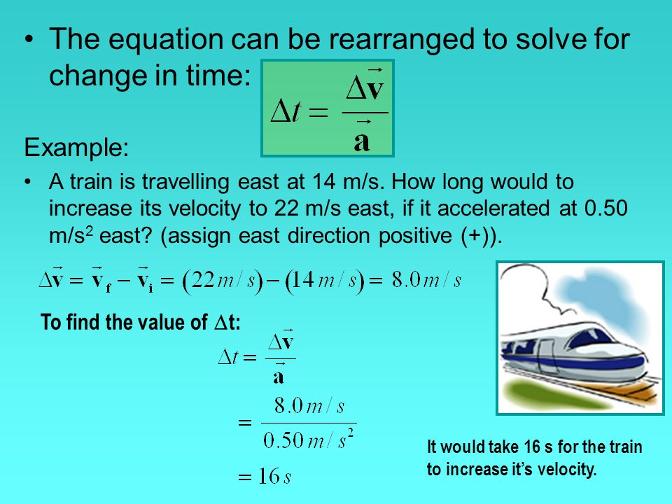 The equation can be rearranged to solve for change in time: