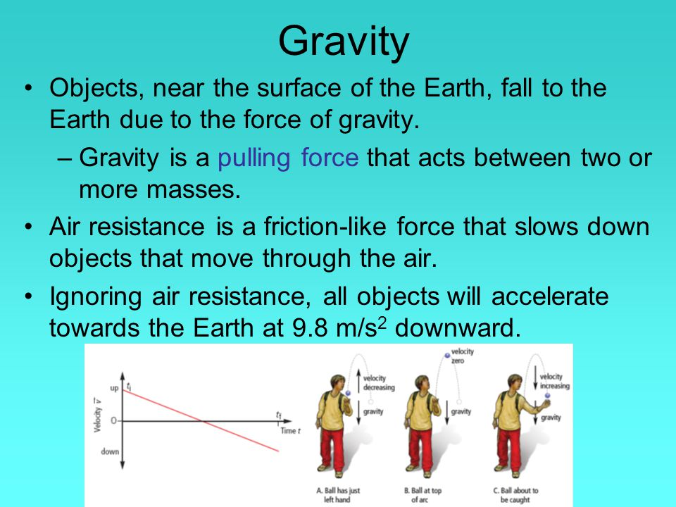 Gravity Objects, near the surface of the Earth, fall to the Earth due to the force of gravity.