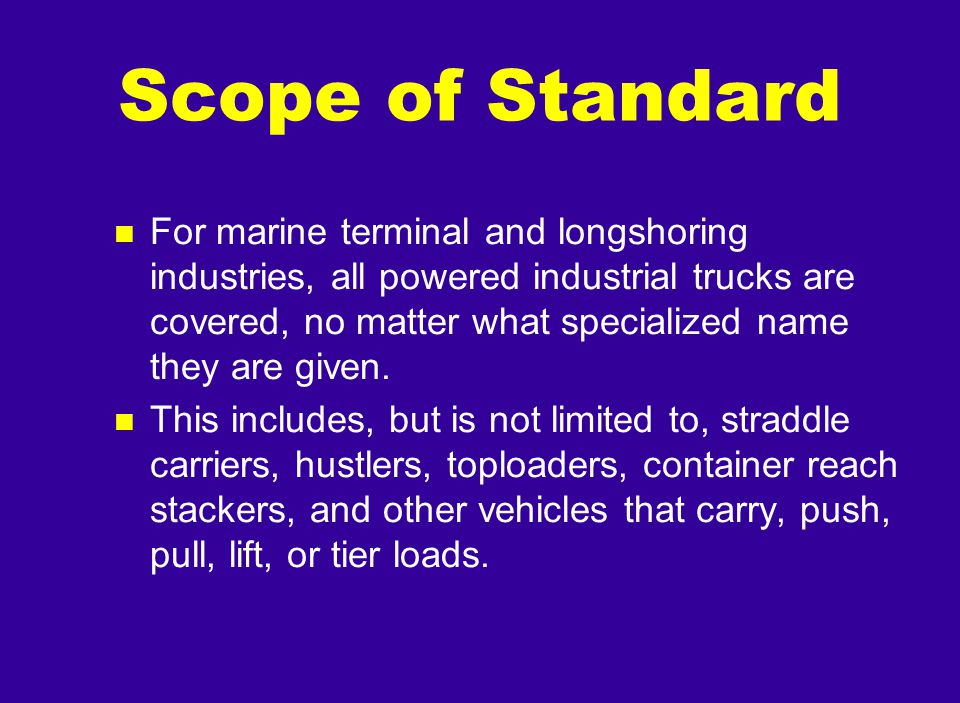 Scope of Standard