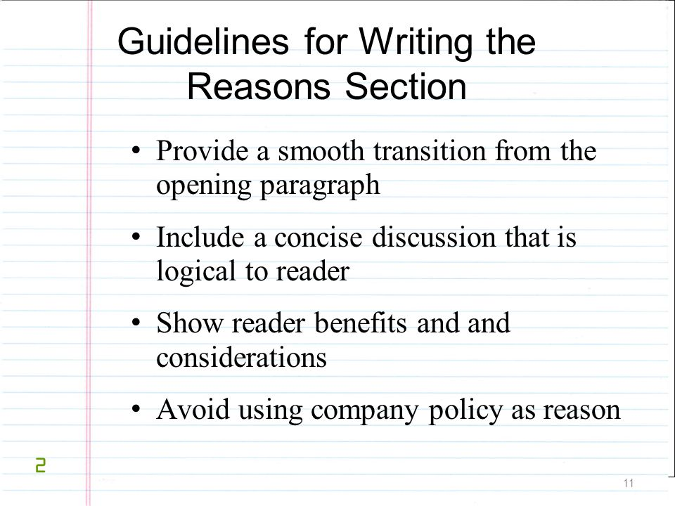 Guidelines for Writing the Reasons Section