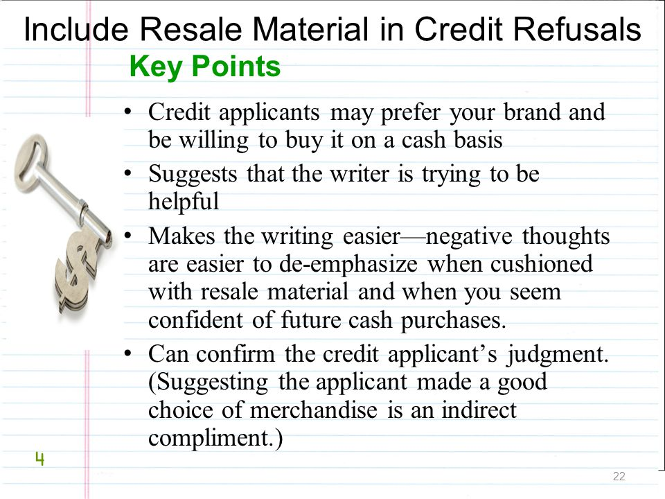 Include Resale Material in Credit Refusals