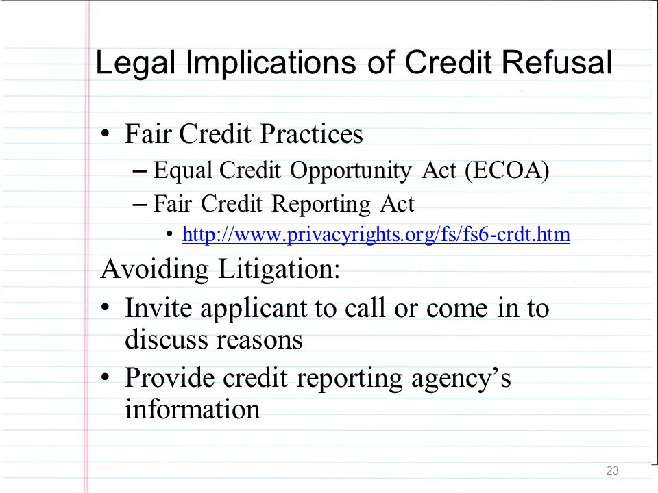 Legal Implications of Credit Refusal