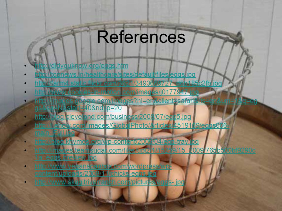 References http://didyouknow.org/eggs.htm