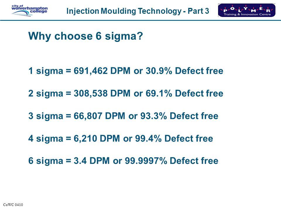Why choose 6 sigma 1 sigma = 691,462 DPM or 30.9% Defect free