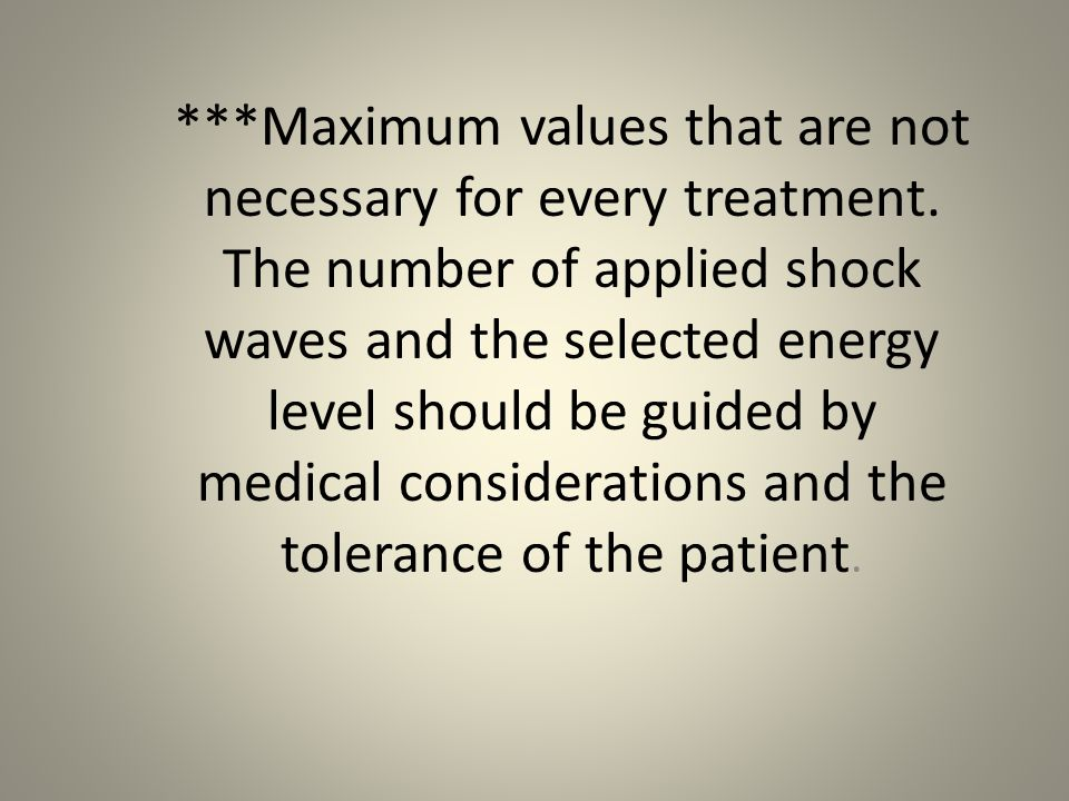 Maximum values that are not necessary for every treatment