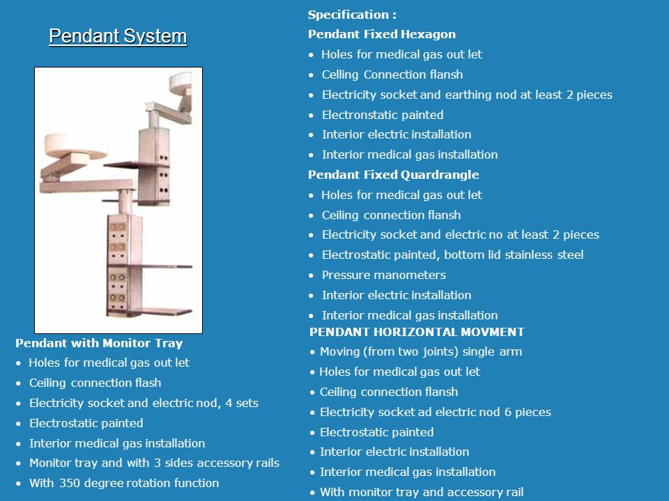 Pendant System Specification : Pendant Fixed Hexagon