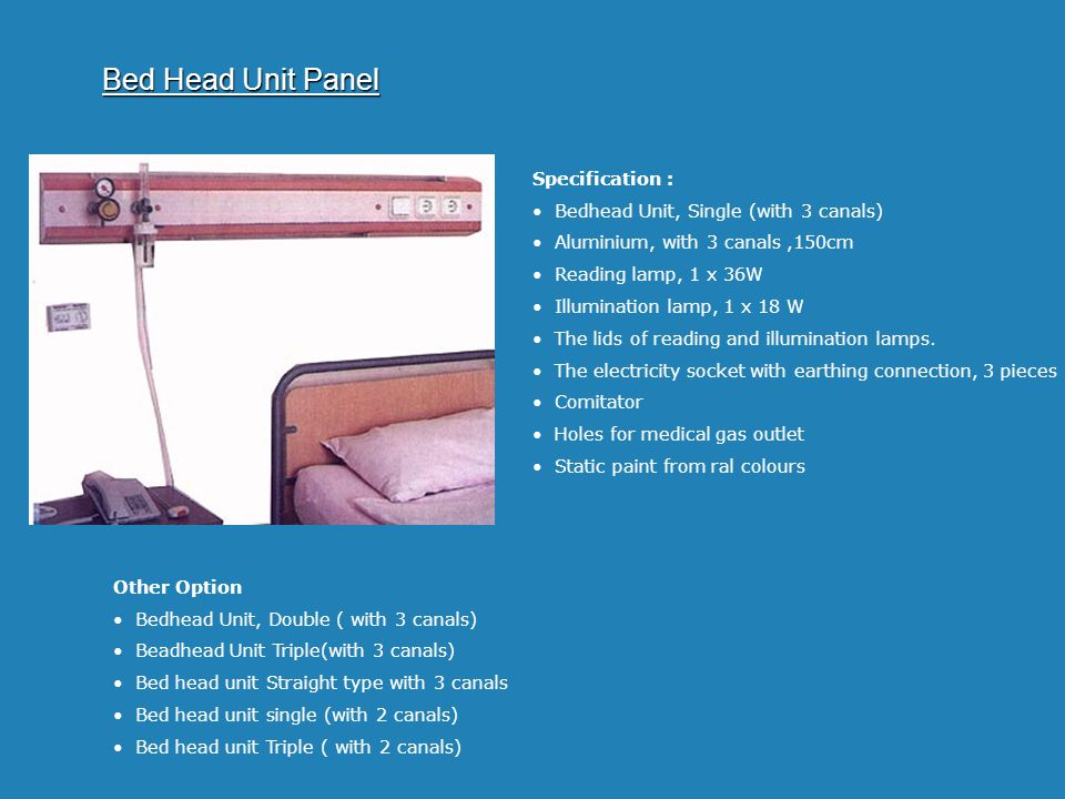 Bed Head Unit Panel Specification :