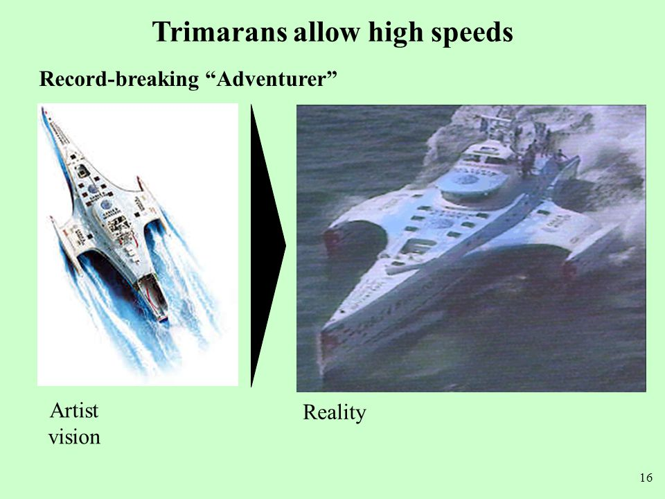 Trimarans allow high speeds