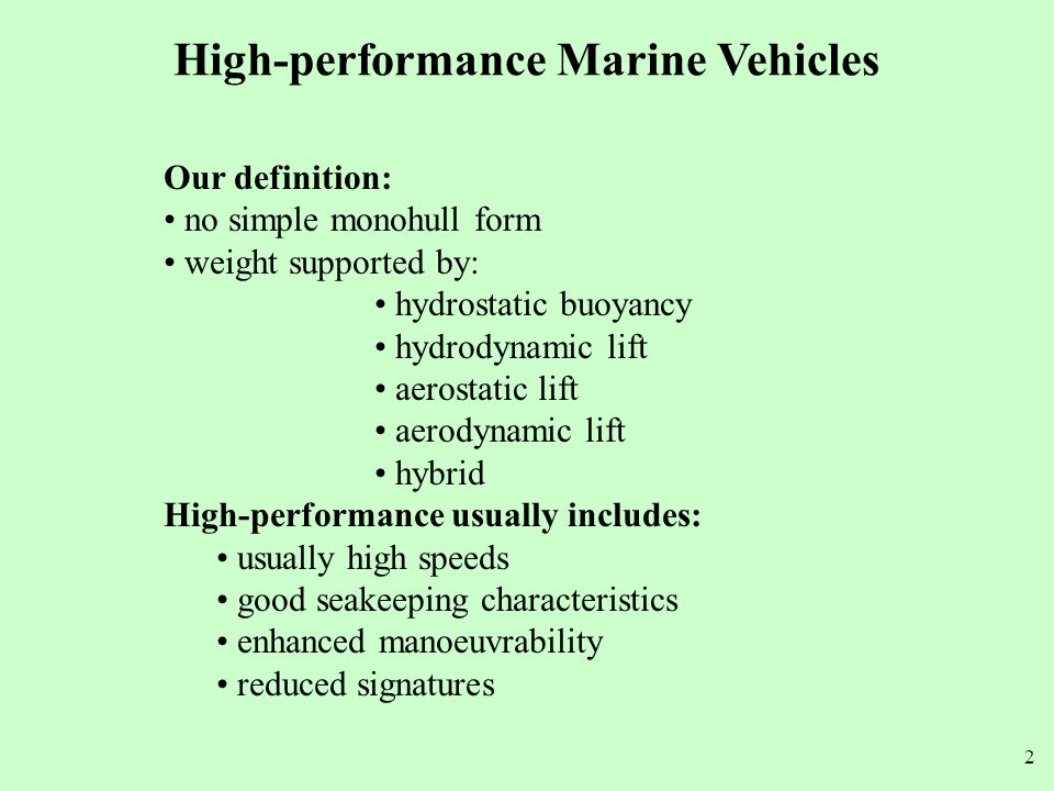 High-performance Marine Vehicles