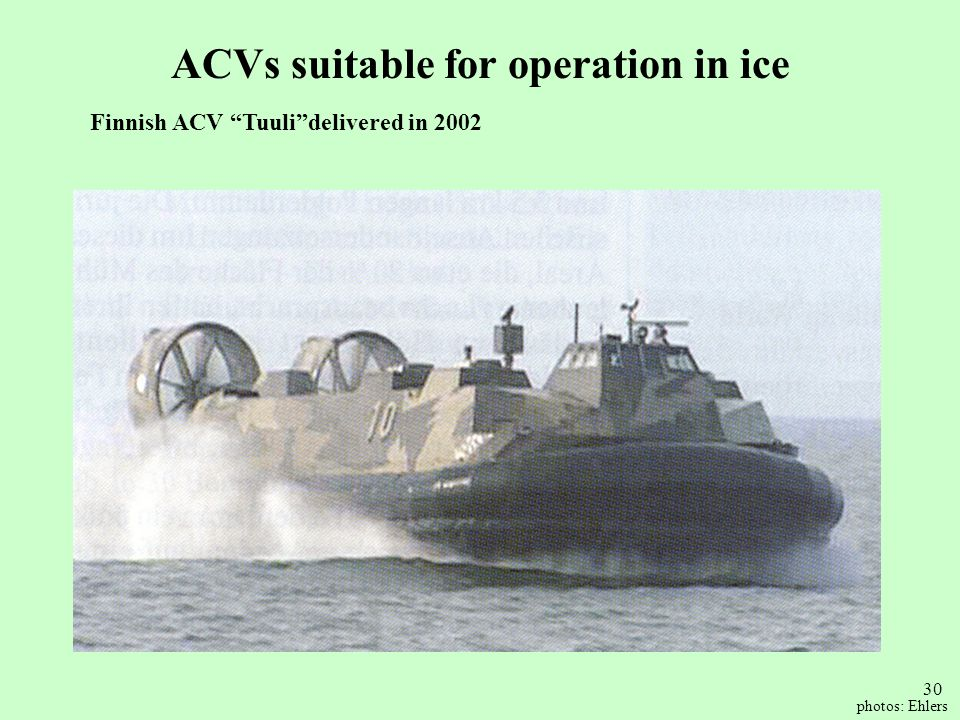 ACVs suitable for operation in ice