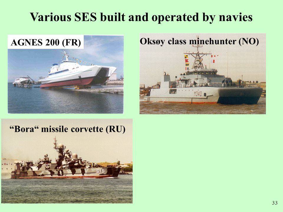Various SES built and operated by navies