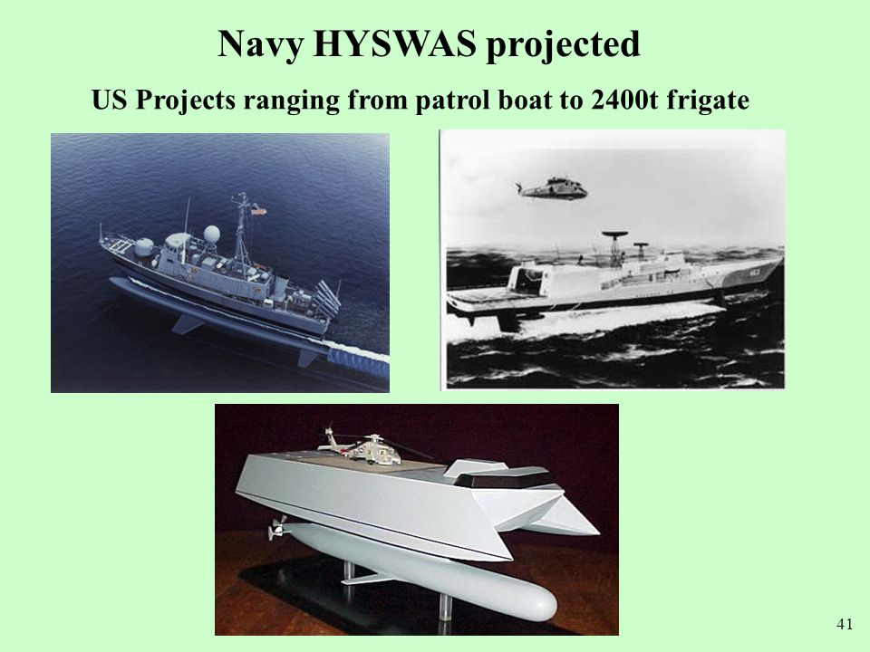 Navy HYSWAS projected US Projects ranging from patrol boat to 2400t frigate