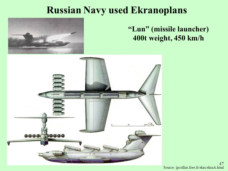Russian Navy used Ekranoplans Lun (missile launcher)