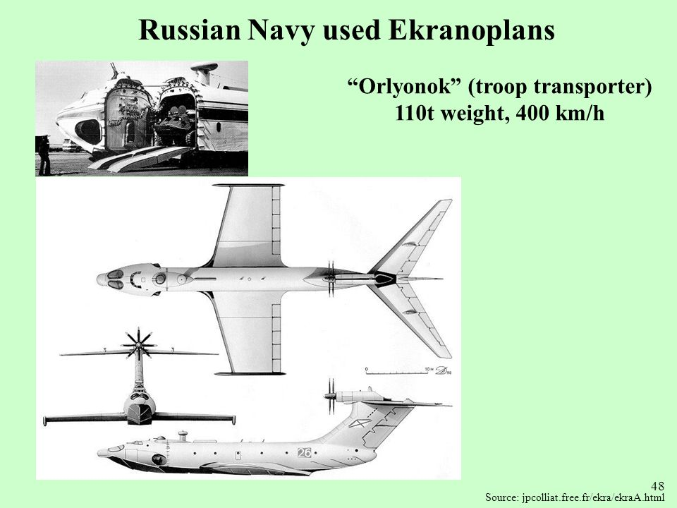 Russian Navy used Ekranoplans Orlyonok (troop transporter)