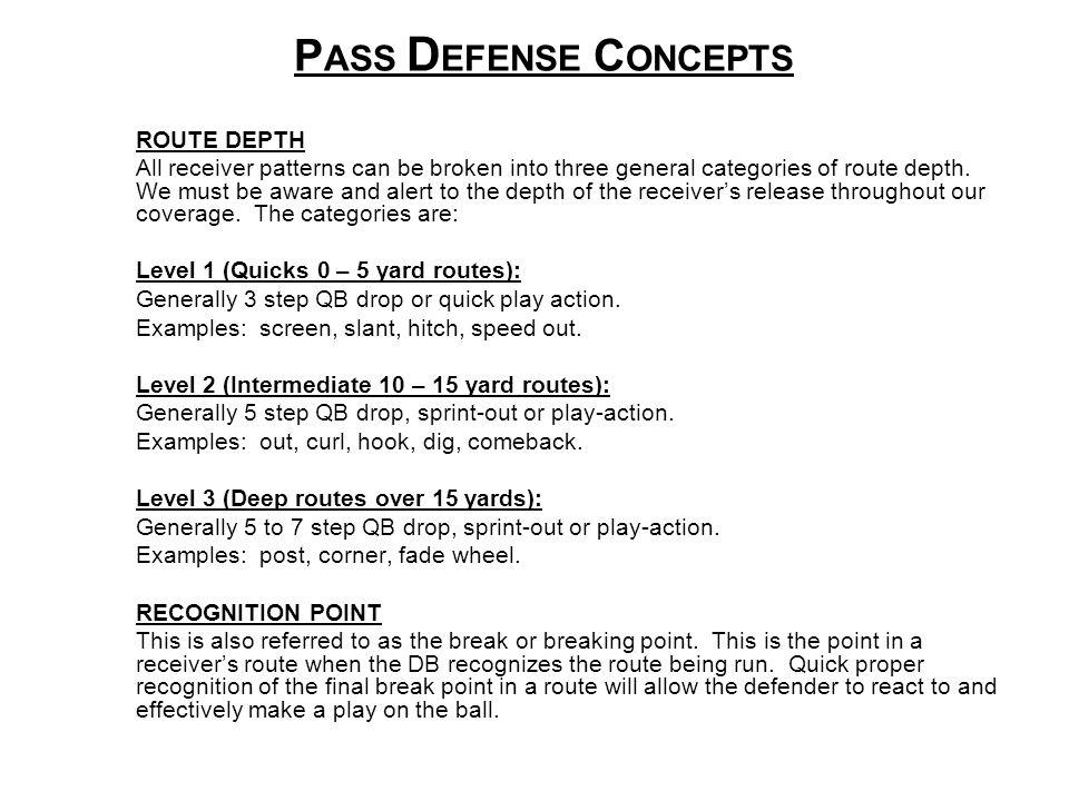 PASS DEFENSE CONCEPTS ROUTE DEPTH
