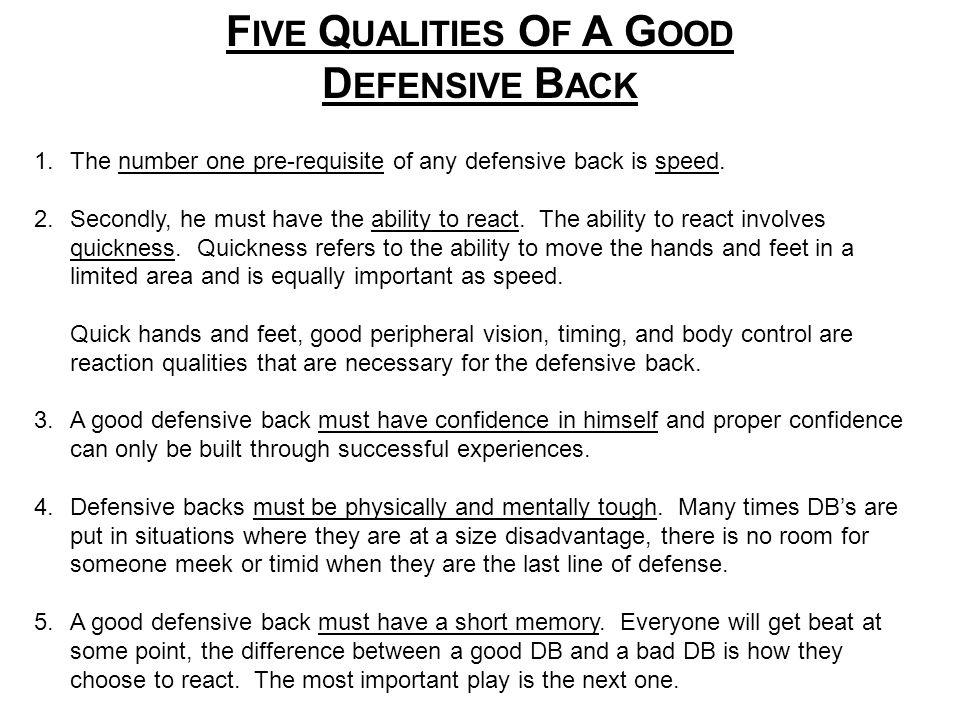 FIVE QUALITIES OF A GOOD DEFENSIVE BACK