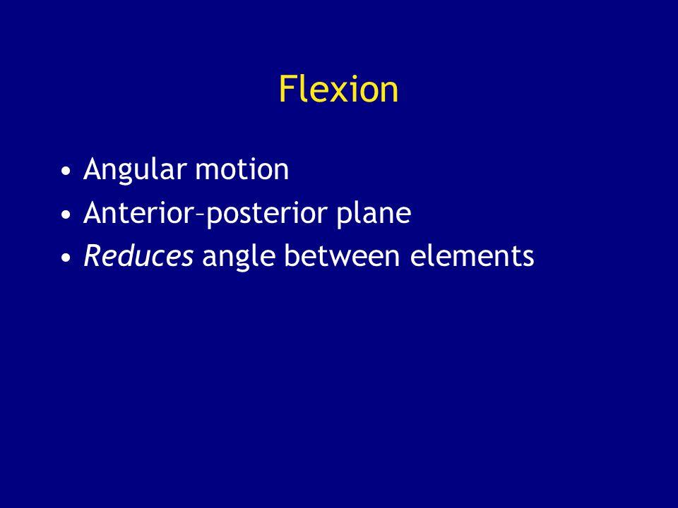 Flexion Angular motion Anterior–posterior plane