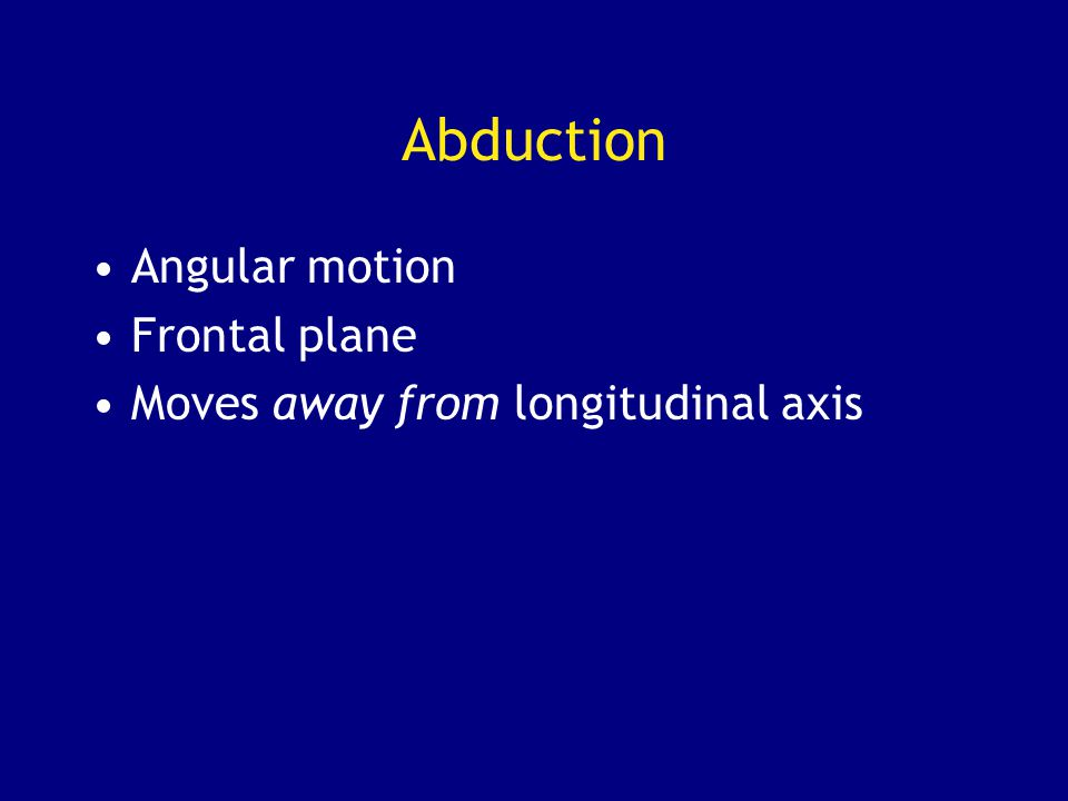 Abduction Angular motion Frontal plane