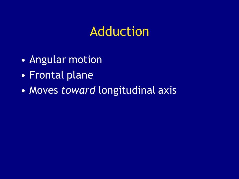 Adduction Angular motion Frontal plane Moves toward longitudinal axis