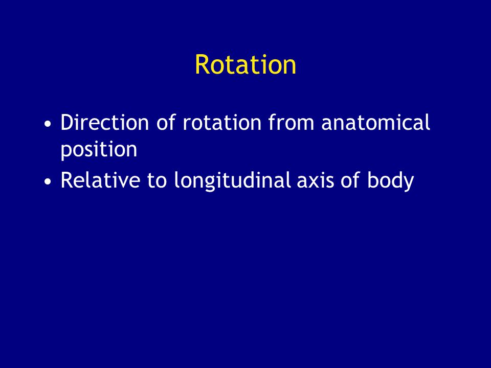 Rotation Direction of rotation from anatomical position